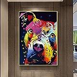 NSRJDSYT Abstrakte Hund Wandkunst nachdenklich Pitbull