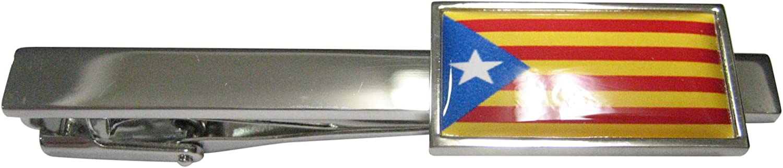 Kiola Designs Thin Bordered La Senyera Estelada Catalonia Flag Tie Clip