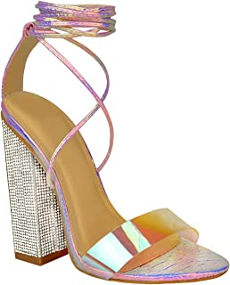 Fashion Thirsty Womens Party Perspex Strappy High Block Heel Sandals Hologram Clear Diamante