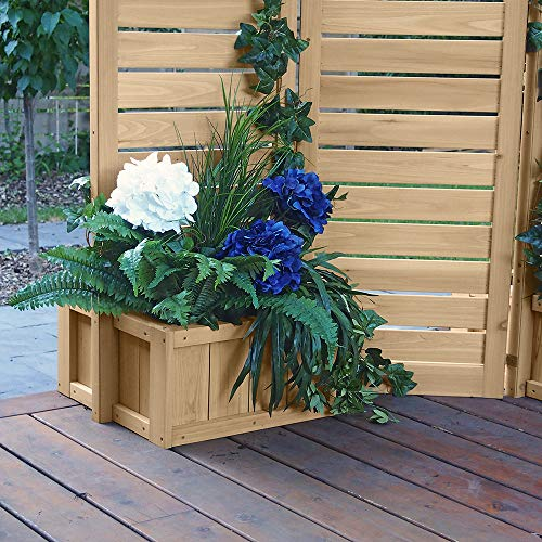Fusion Planter Cedar Privacy Screen Brown Wood