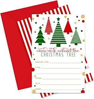 Jolly Tree Christmas Party Invitations with Envelopes (Pack of 15) Fill in Invites Fun Holiday Parties, Festive Dinners, Fun Christmastime Celebrations Red, Green and Gold