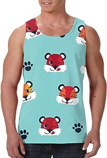 Men's Sleeveless Undershirt Summer Sweat Shirt Beachwear - Vector Flower Seamless Pattern
