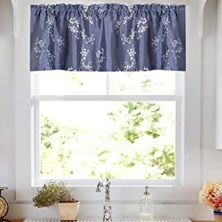 Lined Luxury Faux Silk Floral Embroidered Curtains for Bedroom Embroidery Curtain for Living Room 16 inches Long Drapes, 1 Panel, Slate Blue