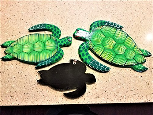 All Seas Imports Set of (3) Hand Carved and Painted Tropical Style Wood Wall Decor Hanging Turtles!