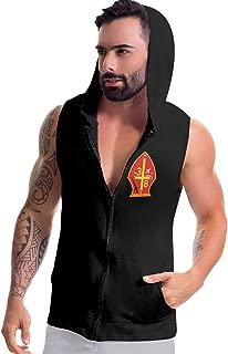 Jriakf 3rd Battalion 8th Marine Regiment Mens Sleeveless Hooded Sweatshirt Zip-up Hoodies Slim Fit Top Blouse with Pockets