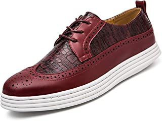 Aomoto Men's Oxford Casual Crocodile Breathable Thick Bottom Height Classic Brogue Shoes