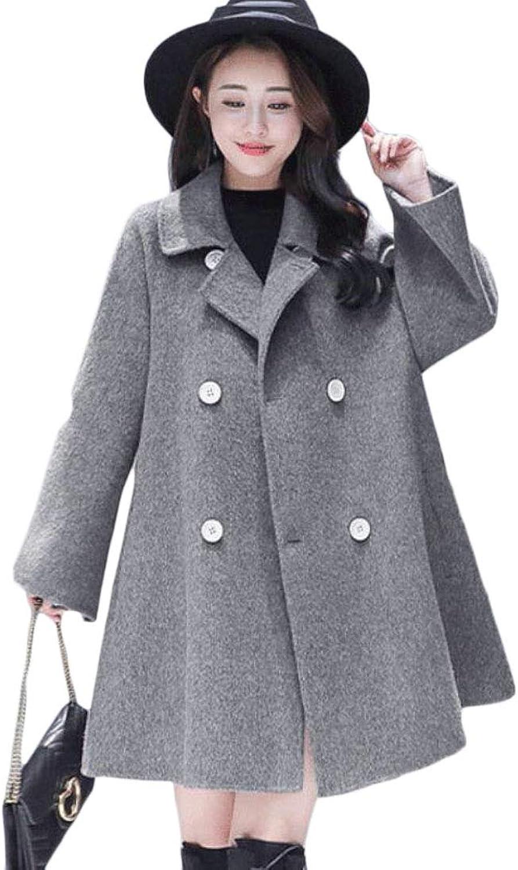 Sanderso Women's Double Breasted Trench Jacket Coat Swing Wool Blend Pea Coat