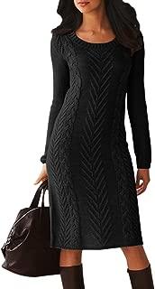 Dearlove Women's Long Sleeve Crew Neck Slim Knit Sweater Bodycon Midi Dress