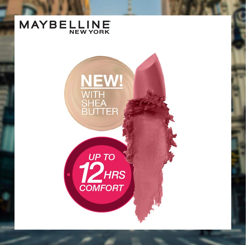 Maybelline Color Sensational Lipstick, Lip Makeup, Matte Finish, Hydrating Lipstick, Nude, Pink, Red, Plum Lip Color, Touch Of Spice, 0.15 oz; (Packaging May Vary)