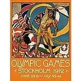 Sport-ADVERT 1912 Olympische Spiele Stockholm Athleten-Flagge, Kunstdruck, 30 x 40 cm BB7395B
