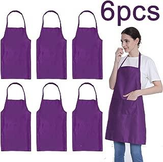 LOYHUANG Plain Purple Color Bib Aprons Bulk Adult for Women Men Unisex Chef Apron with 2 Pockets for Cooking Baking Kitchen Restaurant Crafting (Purple,6pcs-size24 X28)