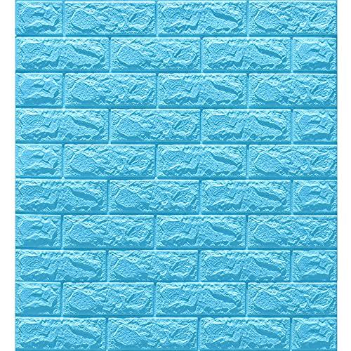 20 piezas 3D Papel tapiz de ladrillo Empapelado Pegatina Mural Autoadhesivo Decorativos Extraíble Impermeable Para Casa Oficina Sala de Estar TV Fondo Pared 70 * 77cm,Mint blue