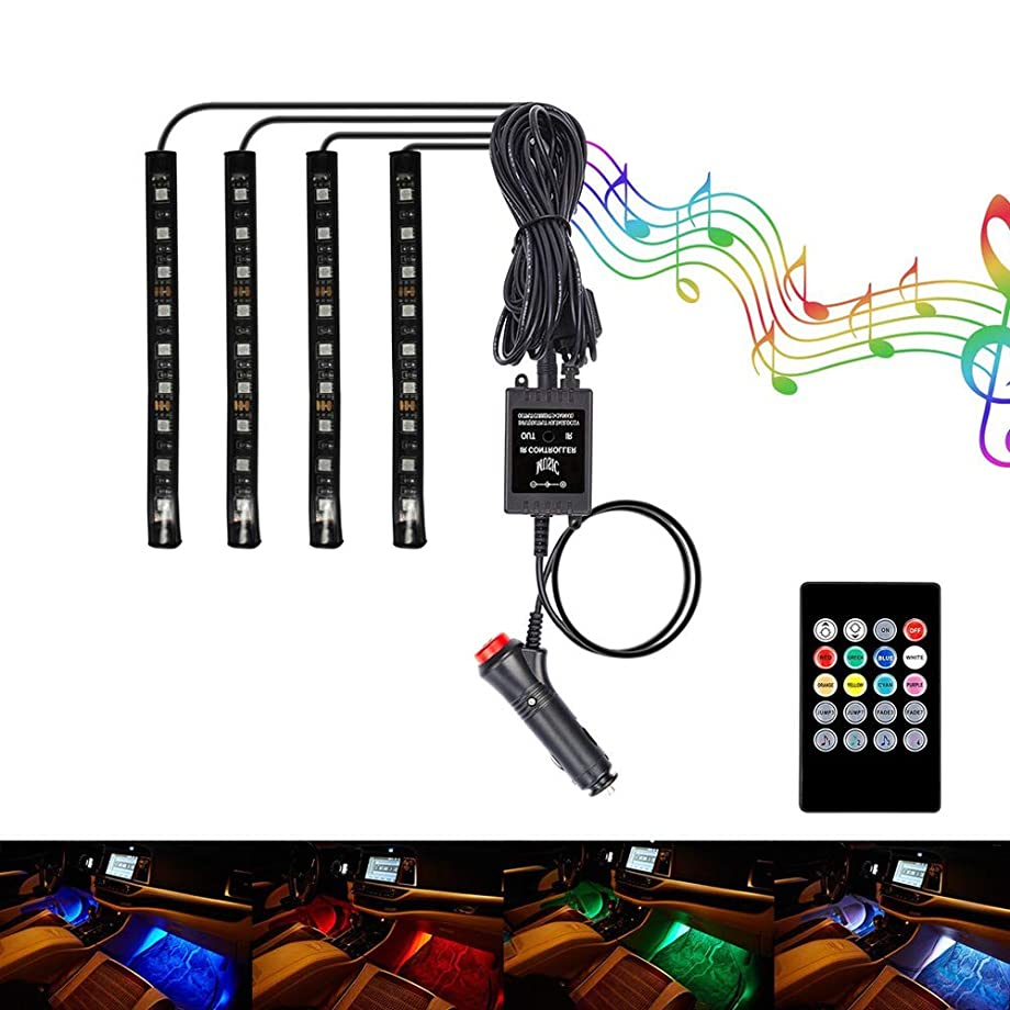 BRTLX Car Interior Lights 1.97ft Multicolor Atmosphere LED Underdash Lighting Kit 4pcs 36 LEDs with Sound Active Function Wireless Remote Control Car Charger Included Universal Fitment