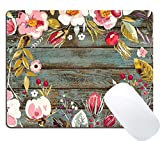 Wknoon Gaming Mouse Pad Custom Design, Vintage Background with Hand Drawn Floral Wreath Image on Rustic Wood Cute Mouse Pads