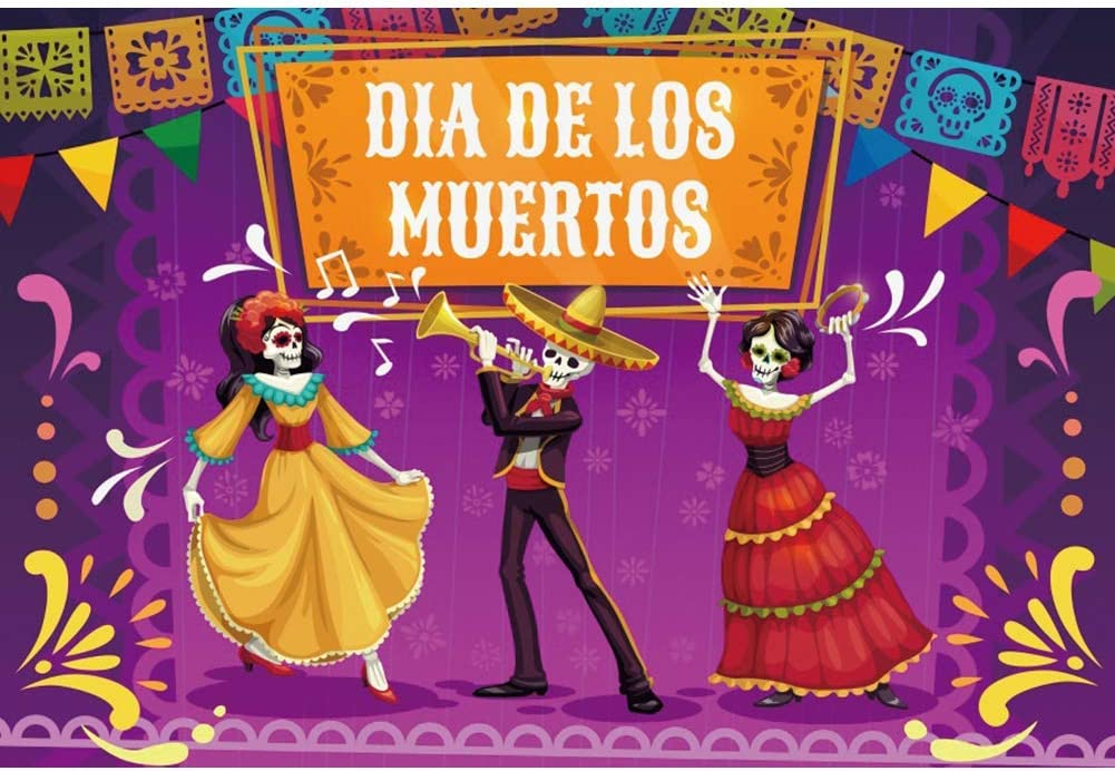 SZZWY 10x6.5ft Day of The Dead Backdrop Mexican Fiesta Dia DE Los Muertos Sugar Skull Skeleton Dancing Background for Photography All Souls Day Dress-up Birthday Party Banner Kids Portrait Photo
