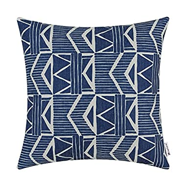 CaliTime Canvas Throw Pillow Cover Case for Couch Sofa Home Decor, Vintage Southwestern Geometric, 18 X 18 Inches, Navy Blue