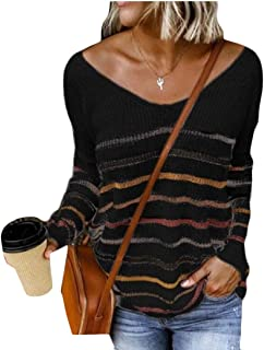 Womens Pullover Sweater V-Neck Striped Casual Long Sleeve Loose Knitted Jumper Tops
