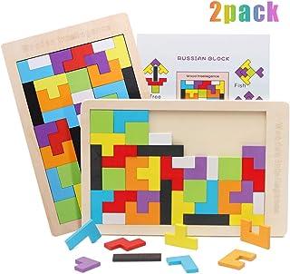 O-Kinee 2 Tetris del Juguete Madera, Tangram Rompecabezas Puzle de Madera de Entrenamiento Cerebral Montessori Geométricos Juego Educativo para Niños Mejor Regalo Educativo Temprano