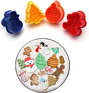 PalkSky Christmas Themed Plunger Cookie Cutter Christmas Baking Pie Crust Cutters/Stamper, Set of 4 (christmas tree、Christmas Snowman、Gingerdead Men and more)-MINI SIZE