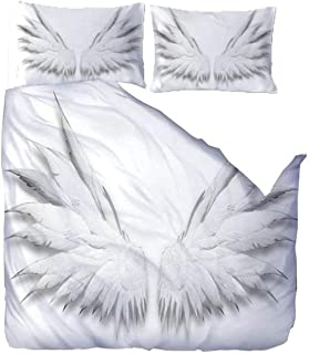 WATYW Housse de Couette 260x240 3D Ailes d'ange Blanc Impression Parure de Lit Fermeture éclair Linge de Lit et Oreillers ...
