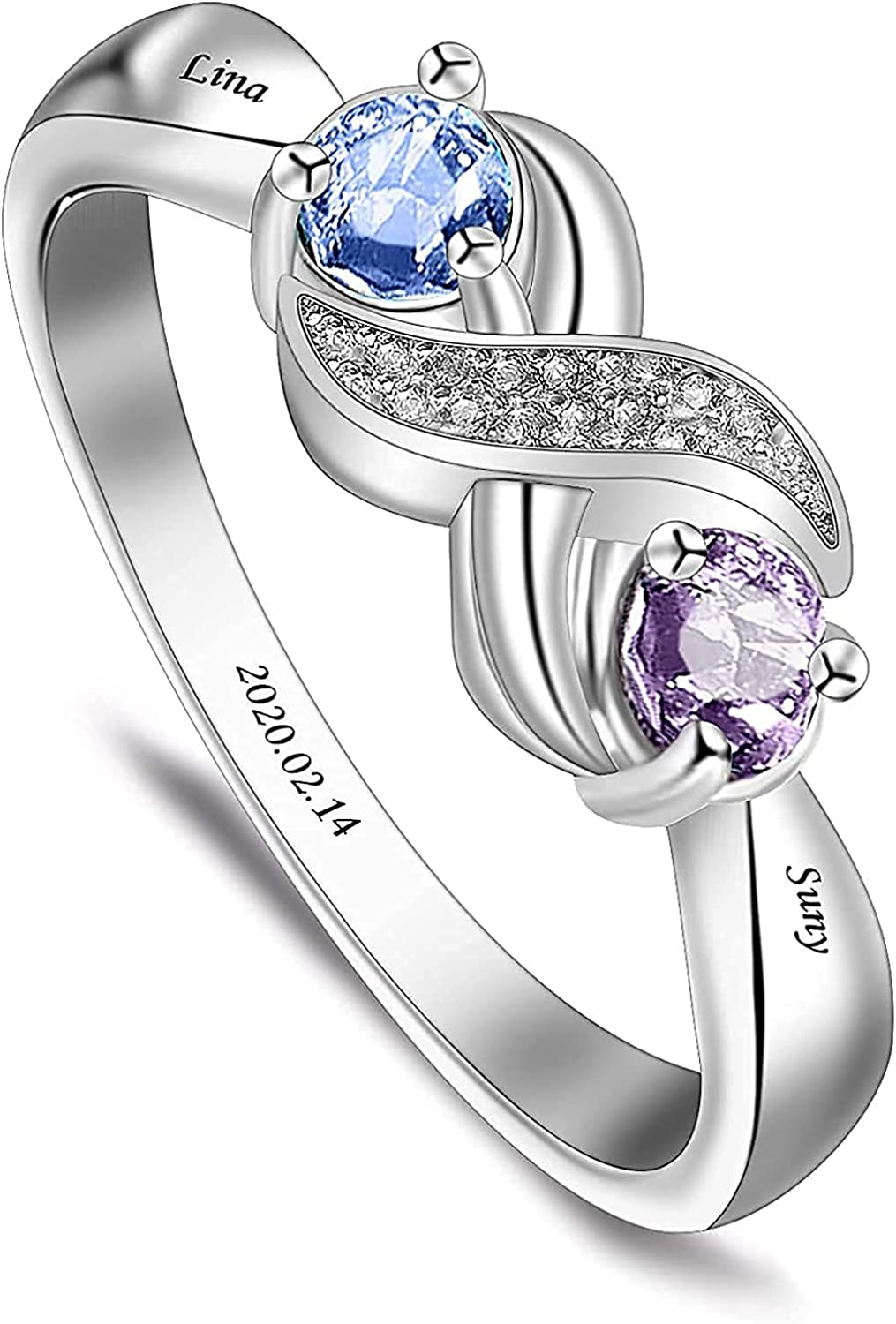 Personalized S925 Popular standard Max 65% OFF MotherFamily Rings with 2 6 3 4 5 Birthstones