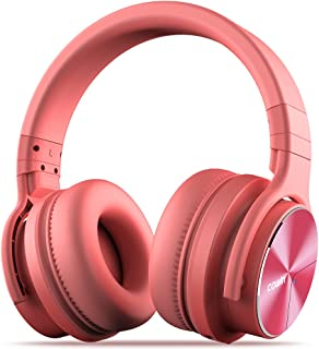 COWIN E7 PRO [Upgraded] Active Noise Cancelling Headphones Bluetooth Headphones with Microphone/Deep Bass Wireless Headphones Over Ear, 30 Hours Playtime for Travel/Work, Pink