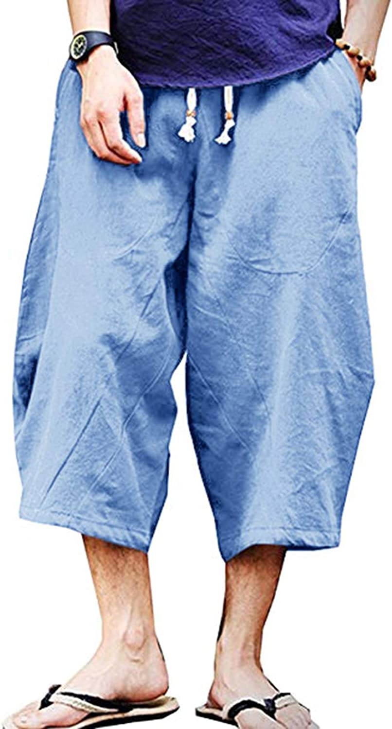 Wohthops Men's Casual Pants Breathable Summer Beach Shorts Linen Cotton 3/4 Pants with Pockets