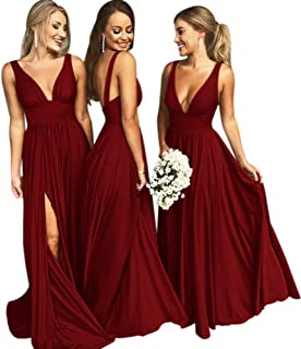 Bridesmaid Dresses Long V Neck Backless Split Prom Formal Evening Gowns for Women