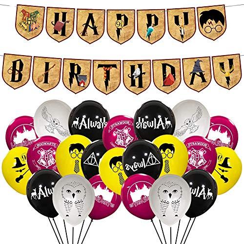 BAIBEI Artículos de Fiesta para Harry Potter, Suministros para la Fiesta de Harry Potter, Estandarte de Cumpleaños, Globo de Látex, Mago Cumpleaños Fiesta Decoracion