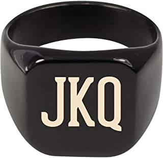 Molandra Products JKQ - Adult Initials Stainless Steel Ring