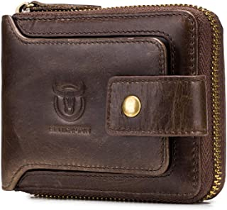 BULLCAPTAIN Genuine Leather RFID Wallet for Men Large Capacity ID Window Card Case with Zip Coin Pocket QB-231