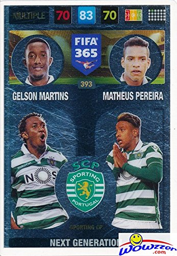 2017 Panini Adrenalyn XL FIFA 365 Multiple Insert #393 Card! Sporting CP Next Generation- Gelson Martins and Matheus Pereira! Imported from Europe! Shipped in Ultra Pro Top Loader to Protect it
