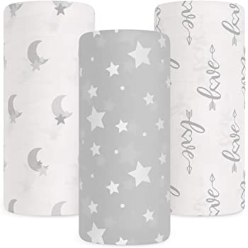 Babebay Baby Muslin Swaddle Blanket, 3-Pack Unisex Bamboo Swaddle Blanket Boys & Girl, Soft Silky Swaddling Blankets Wrap for Newborn Infant, Large 47 x 47 inches, Set of 3 -Moon, Stars and Love