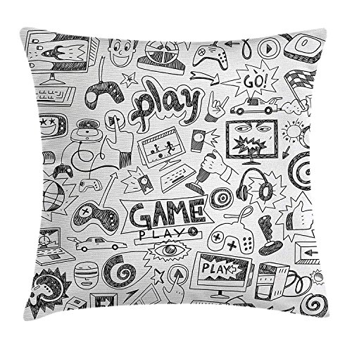 JIMSTRES Video Games Throw Pillow Cushion Cover by, Monochrome Sketch Style Gaming Design Racing Monitor Device Gadget Teen 90's, Decorative Square Accent Pillow Case, Black White 16X16 inches
