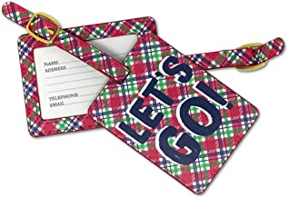 Let's Go Travel Red and Blue Plaid 6 x 4 Faux Leather Buckle Luggage Tag