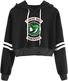 Casual Girls Hoodie Riverdale Sport Crop Top Southside Serpents Print Womens Long Sleeve Pullover Sweatshirt Jumper