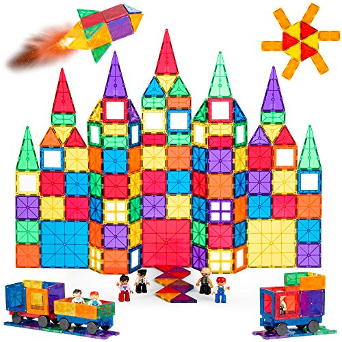 Best Choice Products 250-Piece Kids Colorful Magnetic Tiles Set 3D Construction Magnet Building Blocks Educational STEM Toy with Carrying Case