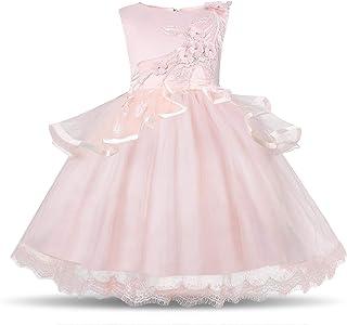 Flower Girls Tutu Dress Pastel Princess Girls Birthday Party Dress Children Kids Kids Chiffon EmbroideRed Wedding Party Dr...