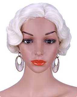"""Kalyss 12"""" Short Finger Wave Synthetic Hair Wig for Women Full Head Short Bob Curly 1920s-1950s Vintage Cosplay Costume Hairpiece (pale blonde 613A)"""