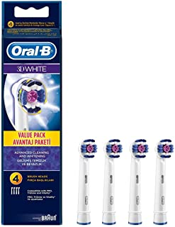3D White Electric Toothbrush Replacement Heads Refill by Oral B Genuine Braun Refill (4 Heads)