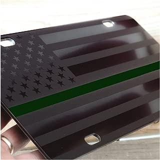 JASS GRAPHIX Military Thin Green Line American Flag License Plate Matte Black on 1/8