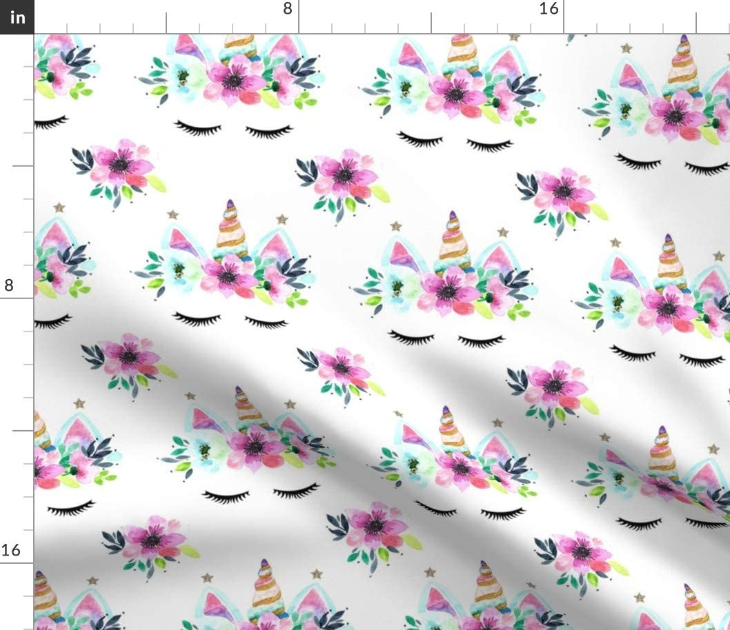 Spoonflower Fabric 2021 spring and summer new Selling rankings - Unicorn White Watercolor Magical Floral