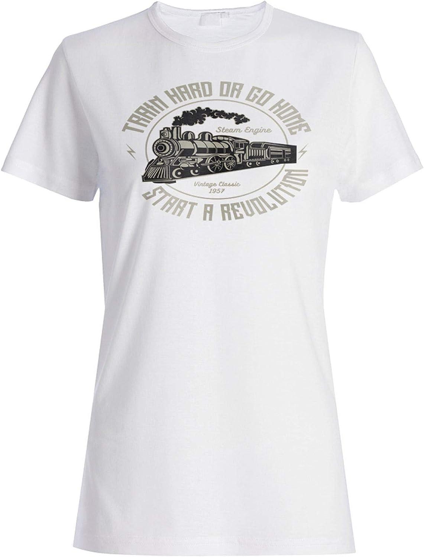 Train Hard T-Shirt Vehicles Or Go Home Steam Engine Locomotive Revolution A182