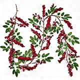 YQing 183 cm Beerengirlande Stechpalme Deko, Girlanden Weihnachten mit Rote Schwarz Beeren und grünen Blättern, Künstliche Rote Beerengirlande für Kamin Treppe Tischdekoration (Haushaltswaren)