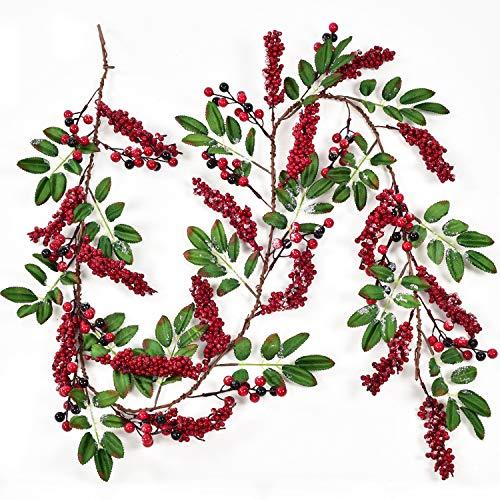 YQing 183 cm Beerengirlande Stechpalme Deko, Girlanden Weihnachten mit Rote Schwarz Beeren und grünen Blättern, Künstliche Rote Beerengirlande für Kamin Treppe Tischdekoration