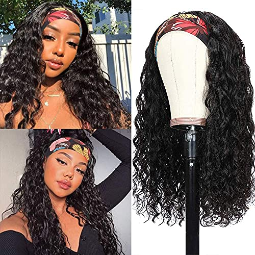 HeadBand Wig Curly Human Hair Wigs Water Wave for Black Women Remy Human Hair Gluess Brazilian Virgin Hair Non Lace Front Wig 150% Density (14 inch, Headband Water)