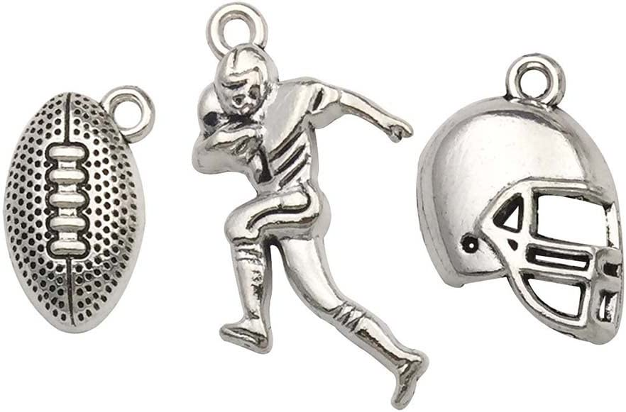 Shipping included Youdiyla 60PCS Football Theme Charms New Orleans Mall - Collection Antique Mixed