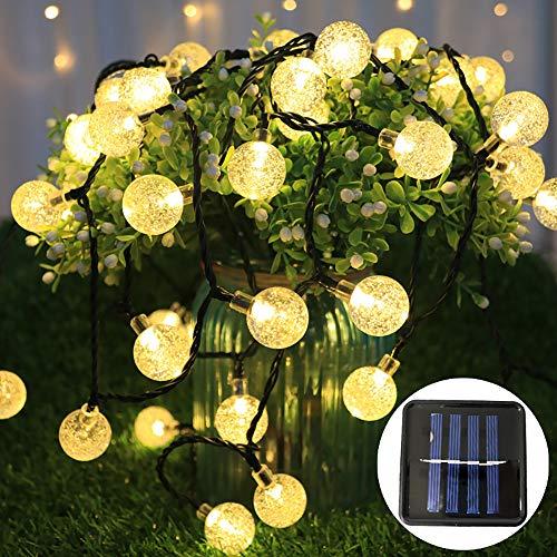 Led-lichtsnoer op zonne-energie, 50 bolletjes, 7 meter, waterdicht, voor binnen en buiten, decoratieve gloeilamp voor tuin, balkon, feest, bruiloft, Kerstmis