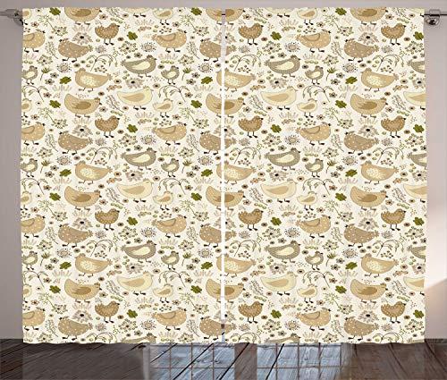 ABAKUHAUS Hähnchen Rustikaler Gardine, Chunky Farm Animals Blumen, Wohnzimmer Universalband Gardinen mit Schlaufen und Haken, 280 x 175 cm, Brown Camel