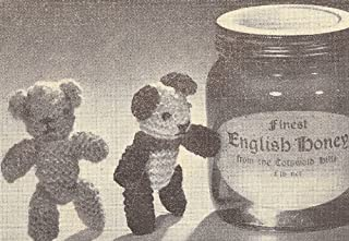 Vintage Knitting PATTERN to make - Knitted Tiny Teddy Panda Bear Miniatures. NOT a finished item. This is a pattern and/or instructions to make the item only.
